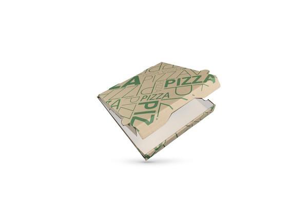 BOITE A PIZZA KRAFT BRUN INTER. BLANC IMPRESSION VERTE 290X35 MM (100 U)