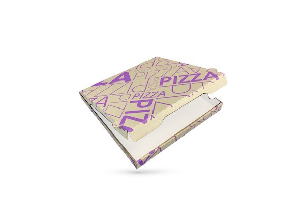 BOITE A PIZZA KRAFT BRUN INTER. BLANC IMPRESSION VIOLETTE 330X35 MM (100 U)