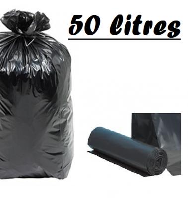 SAC POUBELLE NOIR 50L 68X75 CM - 35 MICRONS (200 U)