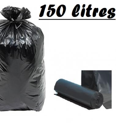 SAC POUBELLE NOIR 150L 90X115 CM - 63 MICRONS (100 U)