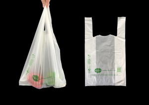 SAC BRETELLE BIODEGRADABLE COMPOSTABLE BLANC 26+6X45CM 15MI CONFORME LOI (2000U)