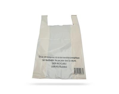 SAC PLASTIQUE A BRETELLES IVOIRE 70 MICRONS 40+10X70 CM (200 U)