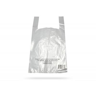 SAC PLASTIQUE A BRETELLES REUTILISABLE TRANSP. 30+8X54 CM - 50 MICRONS (500 U)