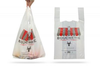 SAC PLASTIQUE REUTILISABLE BLANC IMP. BOUCHERIE 27+7+7X48 CM 50 MICRONS (500 U)