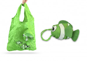SHOPPING BAG MODELE POISSON VERT EN NYLON SPECIAL SAC A MAIN 37X55 CM (20 U)