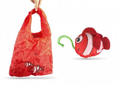SHOPPING BAG MODELE POISSON ROUGE EN NYLON SPECIAL SAC A MAIN 37X55 CM (20 U)