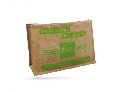 SAC CABAS TOILE DE JUTE «UN SAC QUI RESPIRE» 50+20X34 CM 100% BIODEGRADABLE(50U)