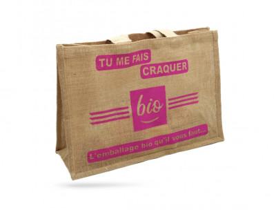SAC CABAS TOILE DE JUTE «TU ME FAIS CRAQUER» 50+20X34 CM 100% BIODEGRADABLE(50U)