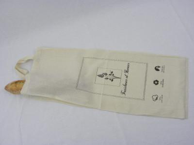 SAC COTON BEIGE A PAINS AVEC POIGNEES 26.5+9X75 CM «FRAICHEUR ET SAVEUR» (10 U)