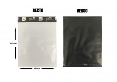 SACHET ADHESIF LUXE 200X300 MM TRANSPARENT/NOIR RABAT REFERMABLE (1400 U)