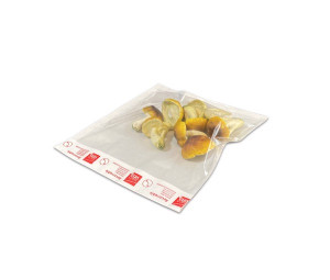 SACHET ADHESIF LUXE 250X300 MM TRANSPARENT/ROUGE-BLANC RABAT REFERMABLE (1200 U)