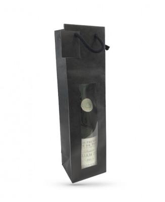 SAC 1 BOUTEILLE PAPIER KRAFT NOIR POIGNEES/FENETRE 98+88X380 MM (20 U)