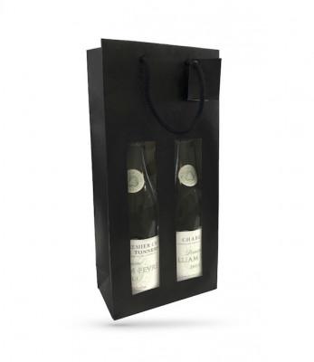 SAC BOUTEILLES X2 PAPIER KRAFT NOIR POIGNEES/FENETRE 180+88X380 MM (10 U)