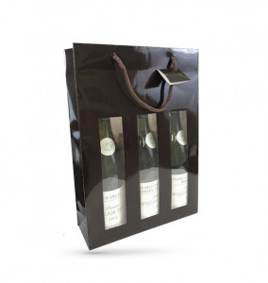 SAC BOUTEILLES X3 PAPIER KRAFT CHOCOLAT POIGNEES/FENETRE 270+90X380 MM (10 U)