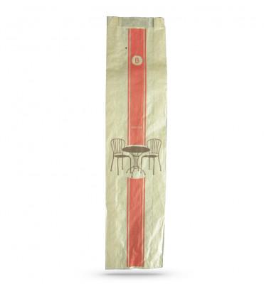 SAC PAPIER KRAFT BRUN BAGUETTE ROUGE 10+3.5X44 CM «TRADITION» 35 GRS (1000 U)