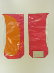 SACHET CONFISERIE POLYPRO 120X275 MM ORANGE/ROSE « PURE GOURMANDISE » FOND (100 U)