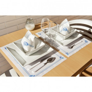 SET DE TABLE BLANC CELLULOSE LISERE BLEU 31X43 CM - 48 GR/M² (500 U)