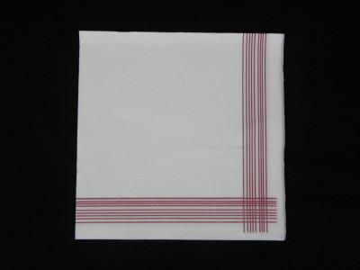 SERVIETTE GAUFREE BLANCHE A LISERE BORDEAUX 1/4 40X40 CM (200 U)
