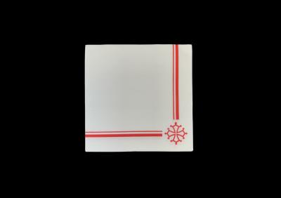 SERVIETTE GAUFREE CROIX OCCITANE ROUGE 40X40 CM (200 U)