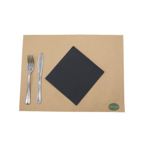 SERVIETTE ECOLABEL DOUBLE POINT 2 PLIS 33X33 CM NOIRE (50 U)