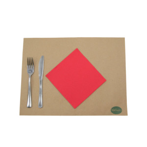 SERVIETTE ECOLABEL DOUBLE POINT 2 PLIS 33X33 CM ROUGE (50 U)