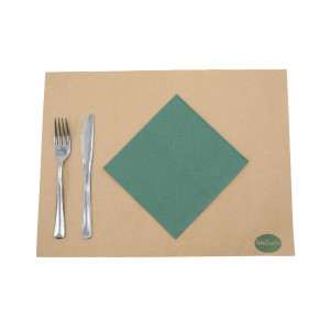 SERVIETTE ECOLABEL DOUBLE POINT 2 PLIS 33X33 CM VERTE SAPIN (50 U)