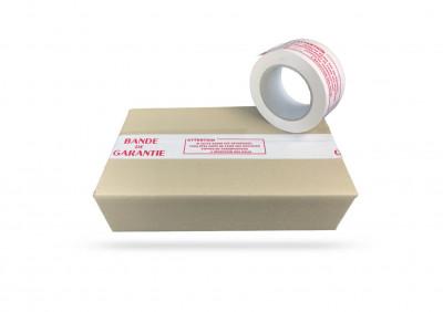 RUBAN ADHESIF BLANC PVC IMPRESSION «BANDE GARANTIE» EN BOBINE 50 MM X 100 M(6 U)
