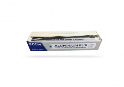 PAPIER ALUMINIUM EN BOBINE 44 CM X 200 M 11 MICRONS + BOITE DISTRIBUTRICE (1 U)