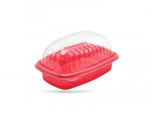 BARQUETTE VOLAILLE ROUGE MICRO-ONDABLE 26X182X60 MM + COUVERCLE (50 U)