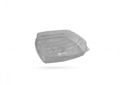 BARQUETTE GATEAU PLASTIQUE TRANSPARENT+COUVERCLE A CLIPS 22.5X21.5X8 CM (200 U)