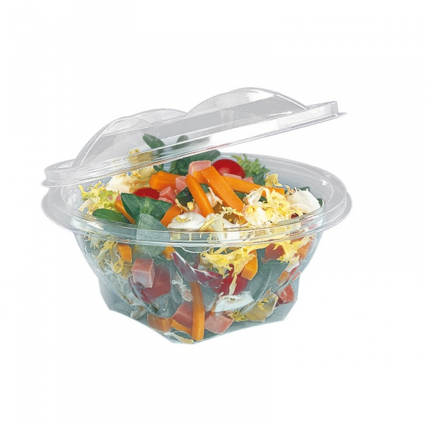 BOL SALADE TRANSPARENT 250 GRS SEKIPACK D.120XH.68 MM COUVERCLE ATTENANT (60 U)