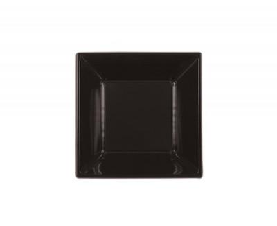 ASSIETTE CREUSE CARREE NOIRE EN PLASTIQUE 180X180X40 MM (25 U)