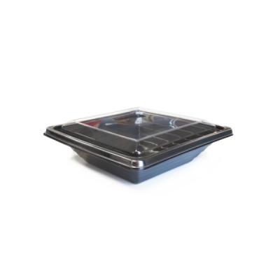 BARQUETTE PYRAMIPACK NOIR 600 GRS+ COUVERCLE TRANSPARENT 17X17X4 CM (40 U)