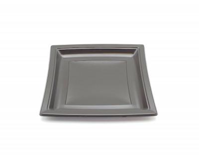 ASSIETTE CARREE PLASTIQUE CHOCOLAT 24 CM (COUVERCLE VENDU SEUL C4A201) (50 U)