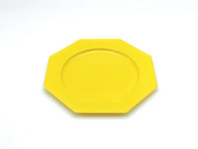 ASSIETTE OCTOGONALE PLASTIQUE LUXE JAUNE D.240 MM (12 U)