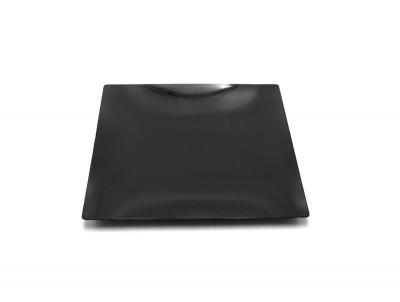 ASSIETTE CARRE NOIRE LUXE EN PLASTIQUE 300X300X15 MM (10 U)