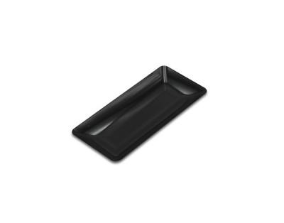 ASSIETTE RECTANGULAIRE NOIRE LUXE EN PLASTIQUE 200X90 MM (10 U)