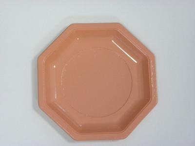 ASSIETTE OCTOGONALE PLASTIQUE ROSE D.185 MM (50 U)