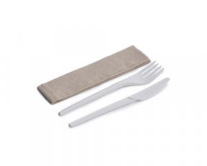 KIT COUVERT BLANC CPLA 3/1 100% COMPOSTABLE - FOUR/COUT/SERV (50 U)