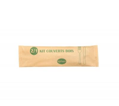 KIT COUVERT 2/1 BOIS - FOURCHETTE/COUTEAU - EMBALLAGE PAPIER (100 U)