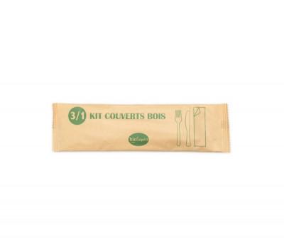KIT COUVERT 3/1 BOIS - FOURCHETTE/COUTEAU/SERVIETTE - EMBALLAGE PAPIER (50 U)