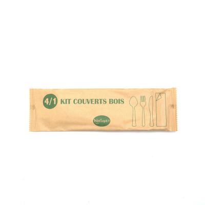 KIT COUVERT 4/1 BOIS - FOUR/COUT/CUILL/SERV - EMBALLAGE PAPIER (50 U)