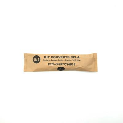 KIT COUVERT 6/1 IVOIRE PLA 100%COMPOSTABLE-FOUR/COUT/CUILL/SERV/SEL/POIVRE (50U)