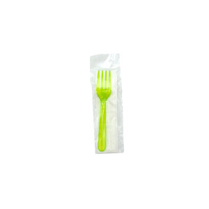 KIT MINI FOURCHETTE VERTE TRANSP 2/1 PS 12.5 CM+SERVIETTE 2 PLIS (500 U)