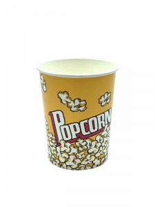 RECIPIENT POPCORN 1L 11.4X8.9X14CM CARTON JAUNE IMPR. POP CORN (25 U)