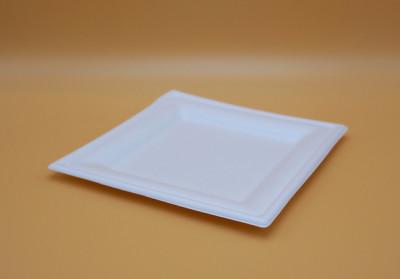ASSIETTE CARREE PLATE BLANCHE GAMME BIO CANNE À SUCRE - 200 MM (50 U)