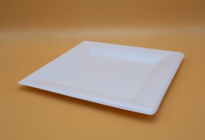 ASSIETTE CARREE PLATE BLANCHE GAMME BIO CANNE À SUCRE - 260 MM (50 U)