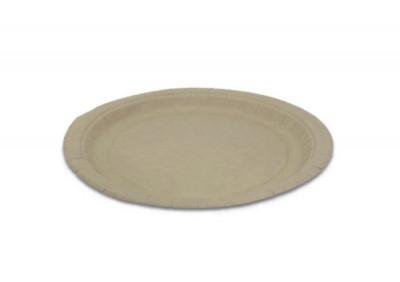 ASSIETTE RONDE PLATE COULEUR KRAFT EN CARTON - DIAMETRE 230 MM (50 U)