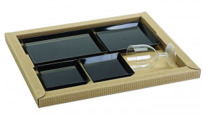 PLATEAU REPAS KIT AVEC 4 ASSIETTES+COUVERCLE GAMME BIO 38x32X8 CM (100 U)
