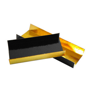 SEMELLE A BUCHE NOIR/OR 4,5X10X1,5 CM - BORDS PLIES (200 U)